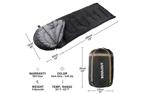 Envelope Sleeping Bag - 4 Seasons Warm Cold Weather Lightweight, Portable, Waterproof With Compression Sack for Adults & Kids - Indoor & Outdoor...