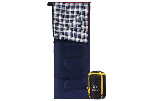 "REDCAMP Cotton Flannel Sleeping Bag for Camping, 50F/10C 3-Season Warm and Comfortable, Envelope Blue 3lbs(75""x33"")"