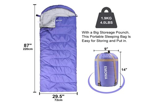 EMONIA Camping Sleeping Bag,3 Season Waterproof Outdoor Hiking Backpacking Sleeping Bag Perfect for Traveling,Lightweight Portable Envelope Sleeping Bags...