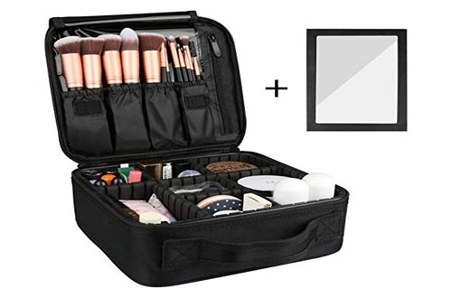 Rosmax Travel Makeup Case,Portable Organizer Makeup Bag Cosmetic Train Case with Mirror - Large Capacity and Adjustable Dividers for Cosmetics Makeup...
