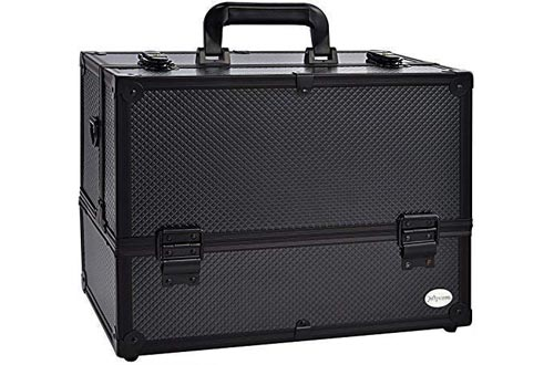 Makeup Train Case Professional Adjustable - 6 Trays Cosmetic Cases Makeup Storage Organizer Box with Lock and Compartments 14 Inch Large Black