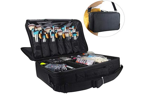 Relavel Professional Makeup Train Case Cosmetic Bag Brush Organizer and Storage 16.5 inches Travel Make Up Artist Box 3 Layer Large Capacity with...