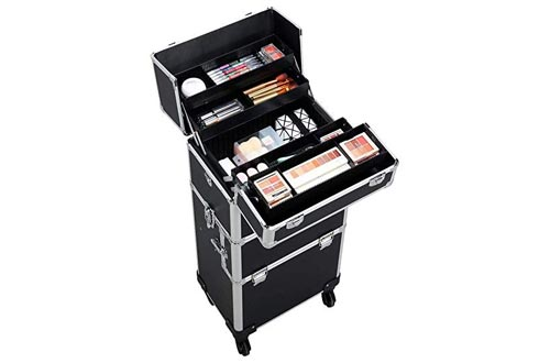 Yaheetech 3 in 1 Professional Artist Rolling Trolley Makeup Train Case, Aluminum Cosmetic Organizer Makeup Case 360-degreed Wheels For Beauty Chains W/shoulder Straps (Black)