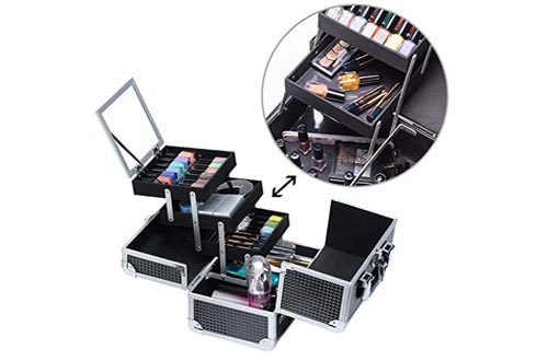 Joligrace Makeup Train Case Professional Cosmetic Box Travel Organizer with Mirror & Lock Black Pattern