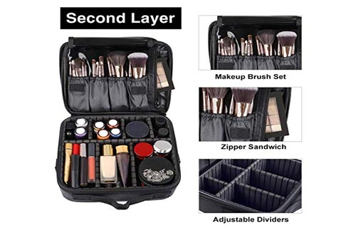 Kootek Travel Makeup Bag Double-Layer Portable Train Cosmetic Case Organizer with Mirror Shoulder Strap Adjustable Dividers for Cosmetics Makeup Brushes...